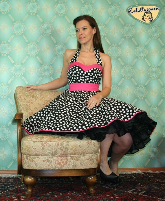 50's vintage dress full skirt black with white dalamatines polka dots Pinup retro Tailor Made