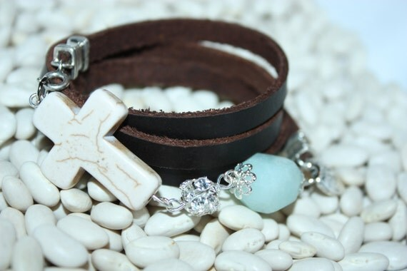 Handcrafted Western Inspired Leather Wrap Bracelet with Creme Crackle Cross, Rhinestone Ball, and Large Jade Stone