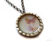 Reserved for K1 -- Pale Pink Butterflies Bottlecap Necklace by Everyday Bohemian. Sparkling Butterfly Pendant.