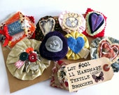Craft Fair Collection of Textile Brooches. Set of 11 Felt & Fiber Hand-Stitched Cardigan Pins by Everyday Bohemian on Etsy. Lot 001.