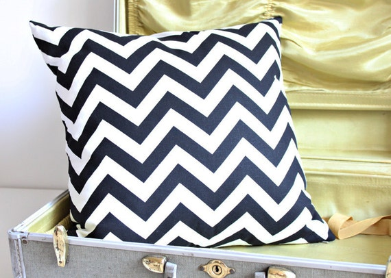 RESERVED for SANDY B black and white zig zag pillow cover with invisible zipper 18X18 inch set of two.