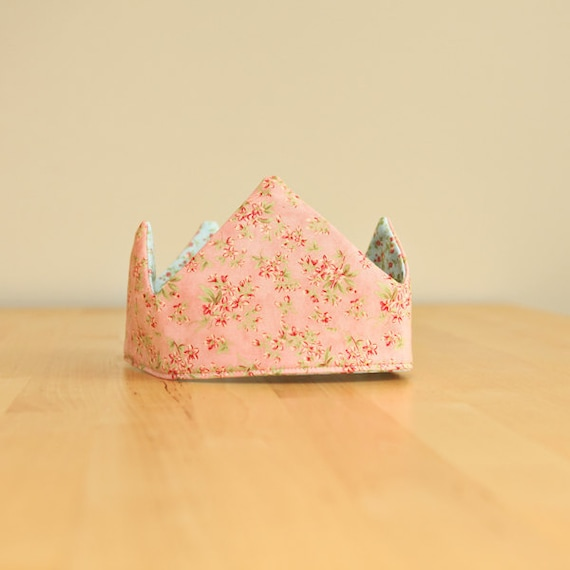 Birthday Crown - Fabric Crown - Kids Reversible Princess Dress Up Costume - Peach and light teal - Velcro - Ready to Ship