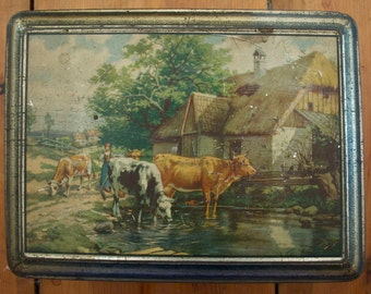Old French Shabby Chic Biscuit Tin with Farm Scene