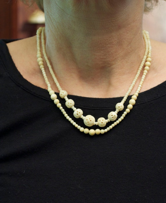 2 Necklaces of 1900 French Carved Ivory