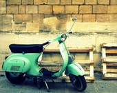 Turquoise Vespa Scooter on Streets of Paris, France - Fine Art Travel Photography - 8x10 Print