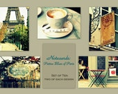 Patina Blues of Paris: Frameable Fine Art Flat Notecards - Birthday Gift - The Paris Collection - Set of 10