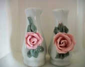 Vintage Rose Petal Salt and Pepper Shakers