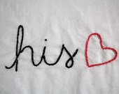 His and Hers Hand Embroidered Pillowcases