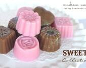 Pure Rich and Creamy Shea Butter Handmade Petit  Truffle Soaps SET OF FIVE  Beautiful Treats in vanilla cram and pink sugar