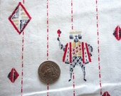 red and gray jacks and diamonds novelty print cotton vintage fabric -- 38 wide by 1 1/2 yards