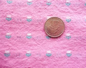 tiny white tulips and green leaves on pink vintage cotton fabric -- 62 wide by almost 2/3 yard