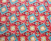 SALE :) pink, turquoise and red diamonds, blocks and flowers vintage full feedsack