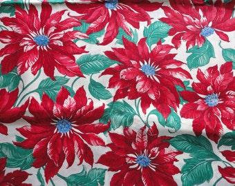SALE :) joan kessler pointsettia print cotton christmas fabric -- 44 wide by 2 yards