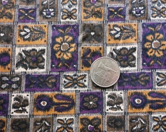 purple, tan and black geometric floral print vintage cotton blend fabric -- 44 wide by 1 3/4 yards
