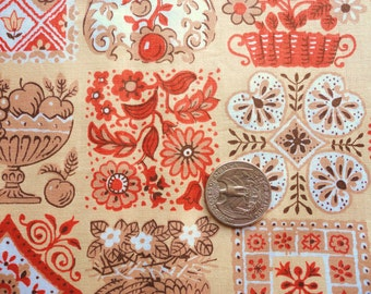 rust, tan and beige colonial print vintage cotton fabric -- 36 wide by the yard