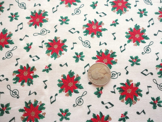RESERVED -- red and green pointsettias with musical notes christmas print vintage cotton blend fabric -- 43 wide by 2 yards