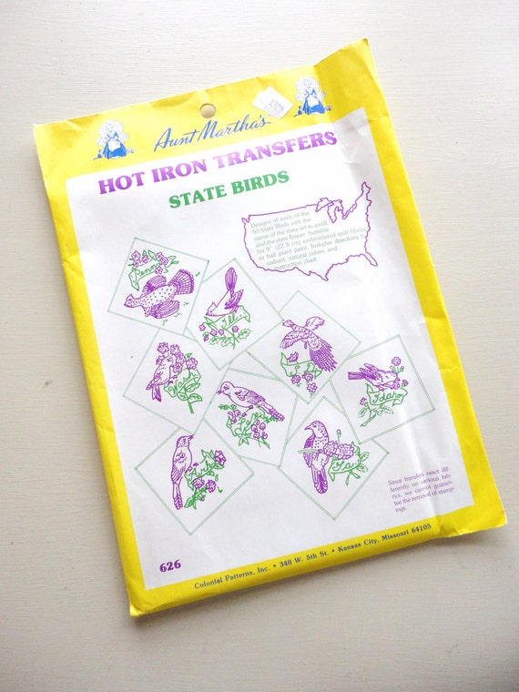 UNUSED vintage aunt martha's hot iron transfer 626 -- state birds