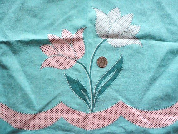 RESERVED -- turquoise border print feedsack fabric half apron