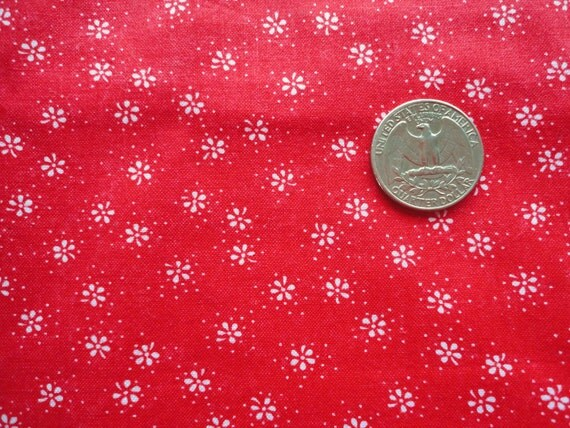 red and white floral print vintage cotton fabric -- 44 wide by 1 1/4 yard