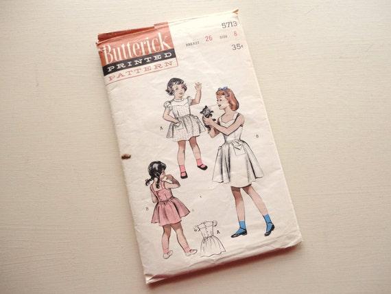 SALE :) vintage butterick pattern 5713 girls dress yoked or chemise bodice -- size 8