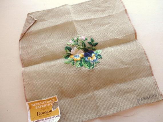 pansies floral print vintage needlepoint canvas