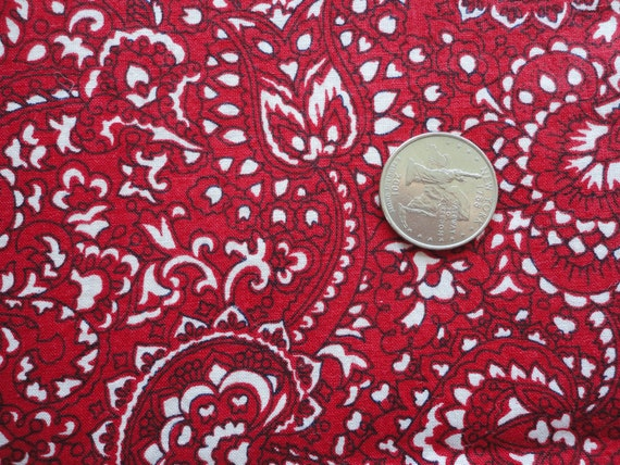 red, white and black paisley print vintage cotton fabric -- 36 wide by almost 2 yards