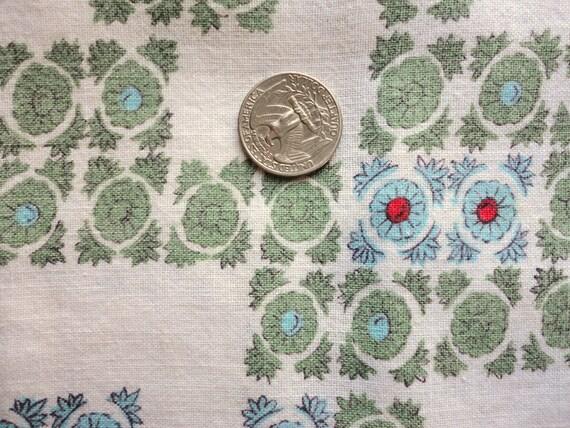 green and blue on cream geometric/floral print vintage full feedsack fabric