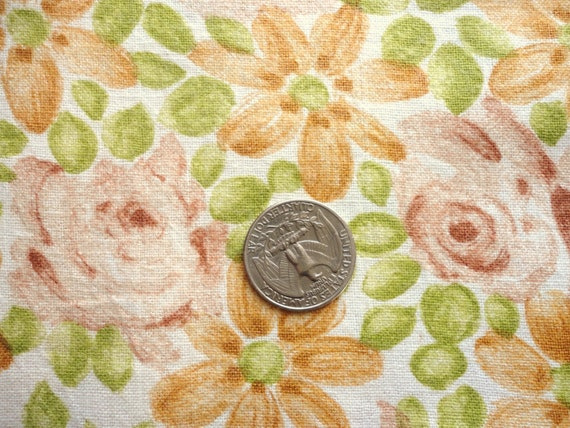 tan, green and brown floral print vintage full feedsack fabric