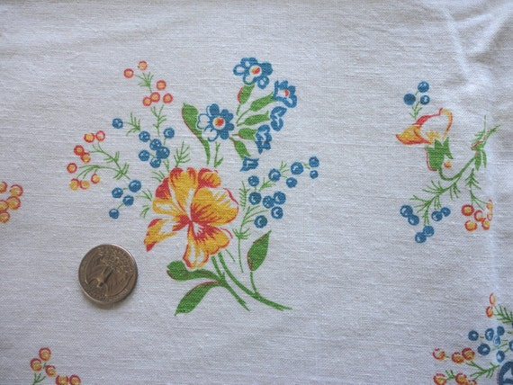 gold and blue floral print vintage full feedsack fabric