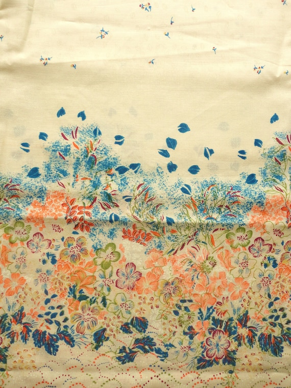 orange and blue on cream border floral print vintage cotton blend fabric -- 43 wide by 1 1/3 yards