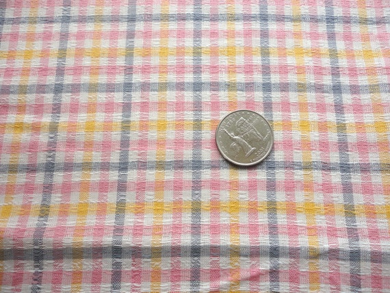 pink and gray plaid vintage cotton blend fabric -- 44 1/2 wide by 1 1/2 yards