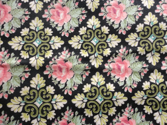 set of three pink and green floral vintage cotton placemats/fabric