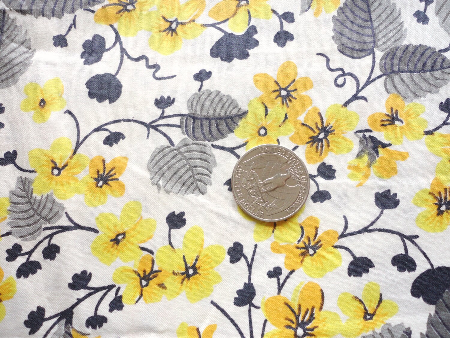 Yellow Gold And Gray Floral Print Vintage Cotton Fabric 36