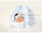 Newborn Crochet Penguin Ear flap Hat Black and White Photography Prop