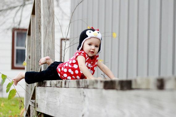 RESERVED listing for CELI - Children's Crochet Ear Flap Penguin Hat -  Black White Red - Photo Prop