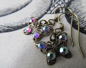 Swarovski Crystal AB Rhinestone Butterfly Filigree Earrings