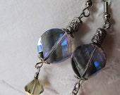 Crystal Twist Silver Filigree Blue Purple Gray Earrings- Sophistication