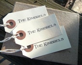personalized gift tags, small manila tags customized with your name