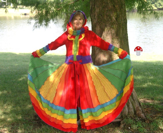RESERVED For Gypsy Lee Rainbow Elf Coat Size Large Extra Long Recycled Upcycled Fairy Pixie Dream Sweater Traveling Gypsy Faery Dress OOAK