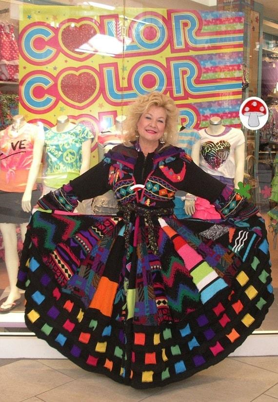 Black Light Elf Coat Recycled Sweater Size Large Extra Long Priestess Length  Bright Groovy Neon Sun Moon Worship Fairy Gypsy Dream Dress
