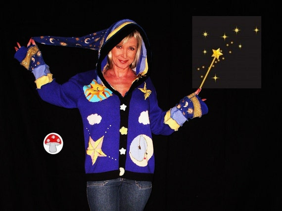 Celestial Elf Hoodie Cardigan Upcycled Recycled Sweater Sun Moon Stars Magical Wizard Cloak Extra Large XL Merlin The Magician Blue Hoody