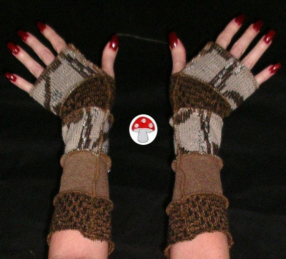 Sticks & Stones Arm Warmers Fingeress Gloves Upcycled Recycled Natural Sweater Art Woodland Fairy Elf Pixie Gauntlets Fae Faery Wristlets