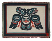 Tlingit Northwest Native American Lovebirds Woven Cotton Tapestry Blanket Throw designed by Israel Shotridge