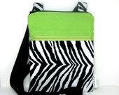 Sling purse cross body bag travel purse hipster zebra, lime