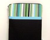 Cross body bag, travel purse, hipster purse, brown, blue green, stripes