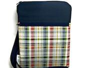 plaid cross body shoulder sling Navy blue red travel vacation wallet adjustable strap