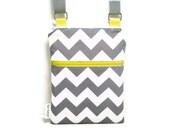 Gray chevron cross body sling bag, yellow and grey