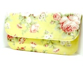 Yellow white floral clutch envelope summer wedding party simple purse