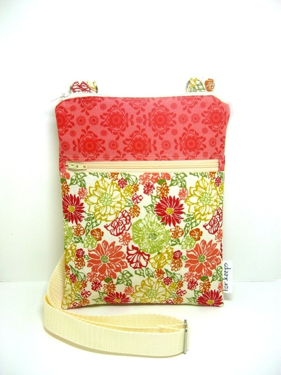 Cross body bag, sling, travel purse, hipster purse pink orange floral