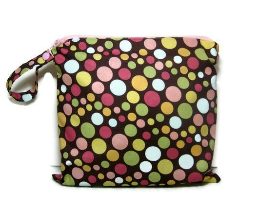 Brown pink polka dot wet bag bathing suit swim beach pool summer waterproof cloth diaper bikini zipper medium